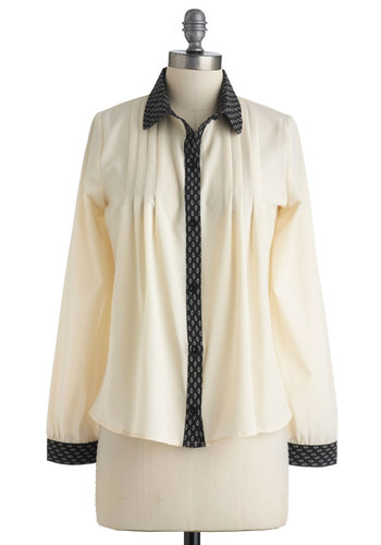 Soft Summer Evening Top - Mid-length, Cream, Black, Pleats, Long Sleeve, Solid, Trim, Work