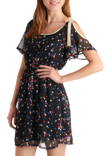 Confetti or Not Dress - Short, Black, Red, Blue, Tan / Cream, Polka Dots, Casual, Short Sleeves, Sheer, Daytime Party