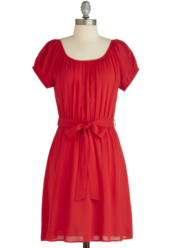 Nothing But Garnet Dress - Red, Solid, Casual, Sheath / Shift, Short Sleeves, Belted, Mid-length, Exclusives