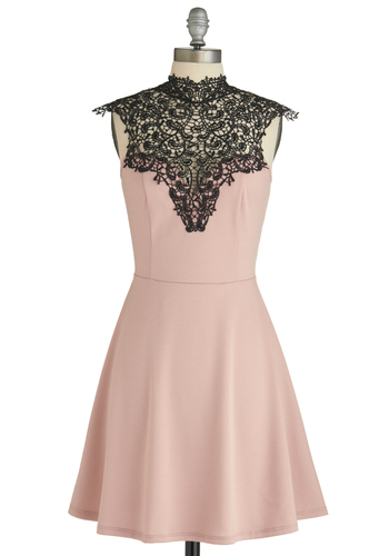 Smart Mauve Dress - Mid-length, Pink, Black, Solid, Backless, Lace, Party, A-line, Sleeveless