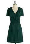 Lush with Loveliness Dress - Mid-length, Green, Solid, Ruffles, Casual, A-line, Short Sleeves, Jersey, V Neck, Exclusives