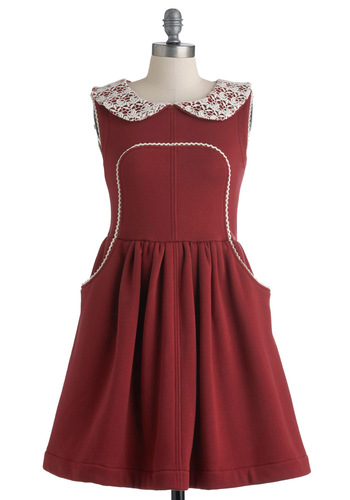 Keen On You Dress by Knitted Dove - Red, White, Solid, Peter Pan Collar, Pockets, Trim, A-line, Sleeveless, Fall, Lace, Casual, Mid-length