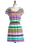 Trust the Stripe Dress - Mid-length, Multi, Stripes, Casual, A-line, Short Sleeves, Summer, Colorblocking