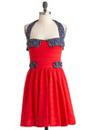 Nest of the Best Dress - Mid-length, Red, Blue, White, Solid, Print, Buttons, Party, A-line, Halter, Summer, Cotton, Fit & Flare, Tis the Season Sale