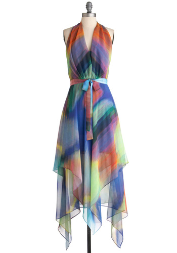 Spectrum of Style Dress - Long, Multi, Print, Party, Halter, Summer, Belted, Sheer, Daytime Party, V Neck