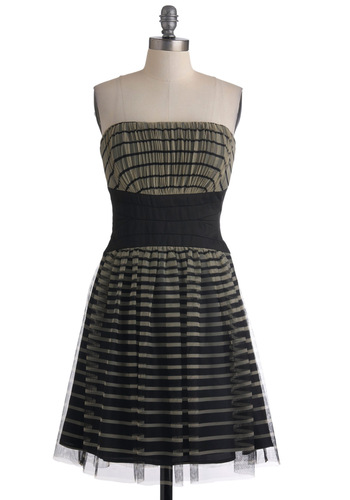 Outside the Boxstep Dress by Max and Cleo - Black, White, Stripes, Party, A-line, Strapless, Cocktail, Mid-length, Fit & Flare, Ruching