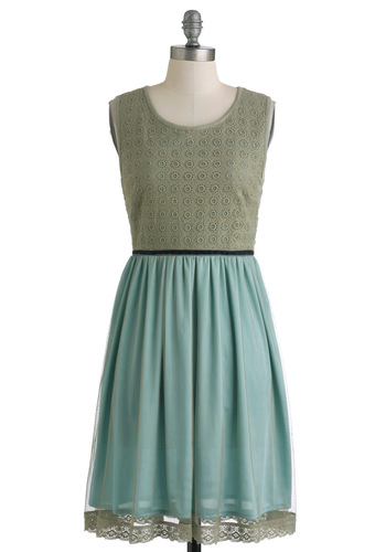 Fern the Tide Dress by Knitted Dove - Green, Blue, Pockets, Trim, Party, A-line, Sleeveless, Spring, Mid-length, Twofer