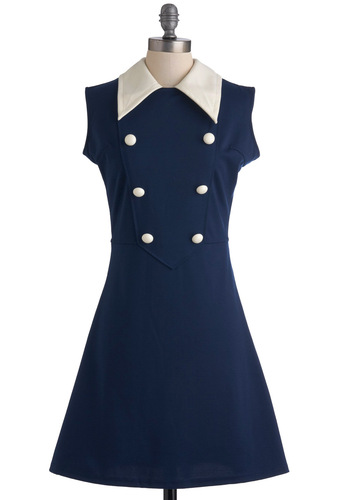 One Smart Rookie Dress - Mid-length, Blue, White, Solid, Buttons, Work, A-line, Sleeveless, Scholastic/Collegiate, Collared, Mod, 60s