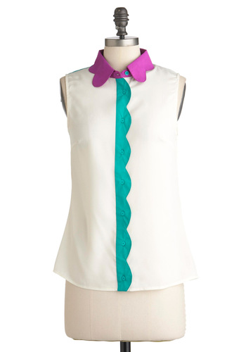 Petal Patch Top in Magenta - Blue, Purple, Scallops, Casual, Sleeveless, Mid-length, White, Buttons, Neon, Sheer, Button Down, Collared