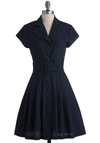 Made in the Shade Dress - Mid-length, Blue, Solid, Buttons, Pleats, Work, Shirt Dress, Short Sleeves, Belted, Pockets, Vintage Inspired, 60s