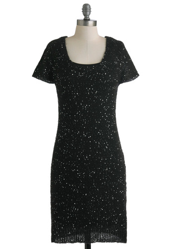 Sit and Glisten Dress by Tulle Clothing - Black, Sequins, Party, Short Sleeves, Solid, Knitted, Mid-length, Holiday Party, Scoop