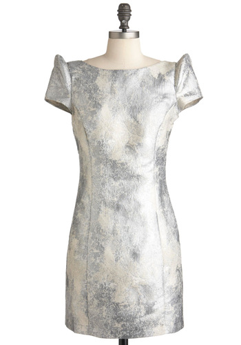Lunar Lovely Dress by Ladakh - Short, Silver, Tan / Cream, Print, Backless, Party, Sheath / Shift, Short Sleeves, Holiday Party, Boat