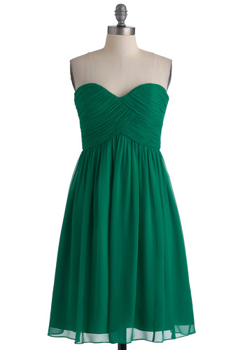 Vert-ing with the Idea Dress - Green, Solid, Wedding, Empire, Strapless, Ruching, Long, Formal, Prom, Spring, Bridesmaid, Sweetheart