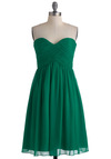 Vert-ing with the Idea Dress - Green, Solid, Wedding, Empire, Strapless, Ruching, Long, Special Occasion, Prom, Spring, Bridesmaid, Sweetheart