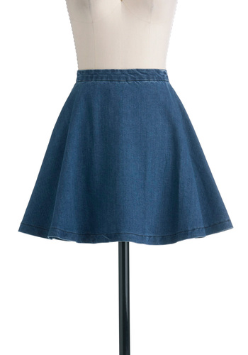 Circle Skirt of Friends - Blue, Solid, Pockets, A-line, Denim, Short, Casual, 90s, Spring