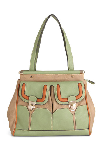 Downtown Storefront Bag by Melie Bianco - Orange, Green, Tan / Cream, Buckles
