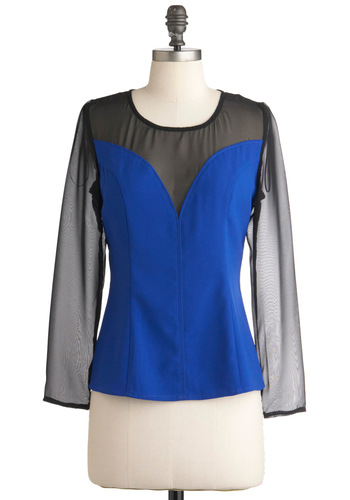 Cobalt Sweetheart Top - Mid-length, Blue, Black, Long Sleeve, Party, Vintage Inspired, 80s