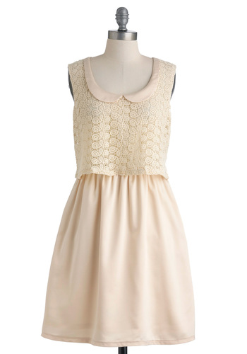 Ivory Now and Then Dress by Tulle Clothing - Cream, Crochet, Peter Pan Collar, Sleeveless, Pockets, Party, Solid, A-line, Mid-length, Collared, Graduation