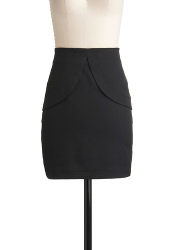 Noir Favorite Skirt - Short, Black, Solid, Scallops, Party, Mini