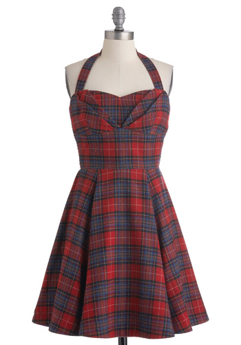 Plaid a Line Dress - Red, Blue, Plaid, Pleats, Casual, A-line, Halter, Fall, 90s, Mid-length