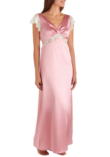 Silver Screen Siren Slip Gown - Pink, White, Lace, Vintage Inspired, 40s, Slip, Cap Sleeves, Long, Solid