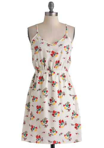 Parkside Pretty Dress - Red, Yellow, Green, Floral, Casual, A-line, Racerback, Summer, Mid-length, Flower, White