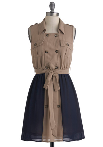 Travel Correspondent Dress - Mid-length, Tan, Blue, Buttons, Pockets, A-line, Sleeveless, Belted, Safari, Button Down, Collared, Travel, Military