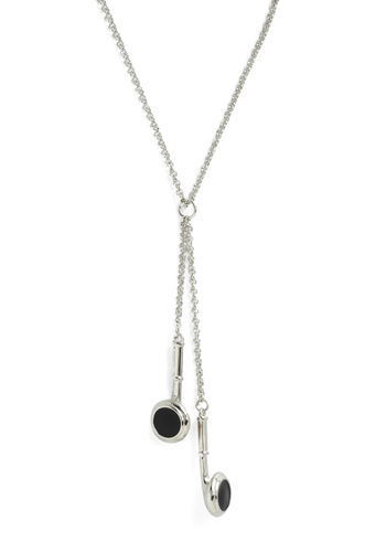 Hanging with Buds Necklace - Silver, Black, Solid, Casual, 80s, Urban