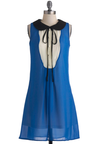 Learning to Fly Dress - Mid-length, Blue, Black, White, Buttons, Peter Pan Collar, Casual, Sheath / Shift, Sleeveless, Menswear Inspired, Press Placement