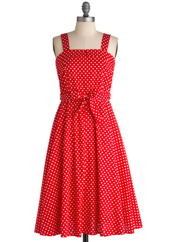It's Got Moxie Dress - Long, Red, White, Polka Dots, Party, A-line, Sleeveless, Summer, Belted, Vintage Inspired, Cocktail, Cotton, Fit & Flare