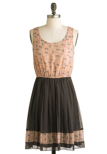 Cat Long Last Dress - Short, Multi, Orange, Black, Grey, White, Polka Dots, Print with Animals, A-line, Tank top (2 thick straps), Casual, Quirky, Sheer