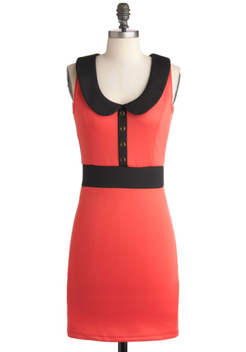 You'll Be Bright Dress - Short, Orange, Black, Solid, Buttons, Cutout, Peter Pan Collar, Party, Sheath / Shift, Sleeveless, Coral, Collared, Mod, Tis the Season Sale