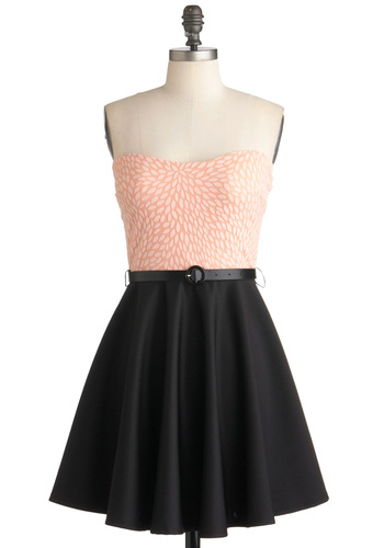 Roof Deck Dining Dress - Black, Pink, White, Print, Party, A-line, Strapless, Belted, Vintage Inspired, Cocktail, Mid-length, Sweetheart
