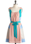 Bastille My Heart Dress - Pink, Blue, Casual, A-line, Tank top (2 thick straps), Mid-length, Spring, Belted, Pastel, Colorblocking