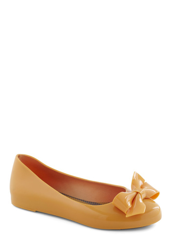 Take Caramel Flat - Yellow, Solid, Bows, Flat, Casual, Spring