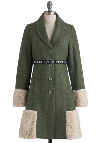 Adventures in Anchorage Coat - Green, Tan / Cream, Buttons, Pockets, Casual, Long Sleeve, Belted, Folk Art, 2.5, Long, Party, Fall, Winter, 2, Rustic