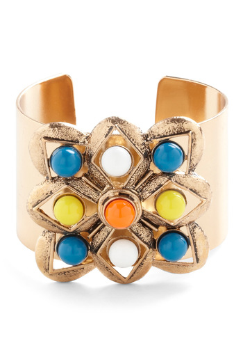 Cuff Enough Bracelet - Gold, Multi, Solid, Beads, Statement, Cocktail, Multi, Girls Night Out, Tis the Season Sale
