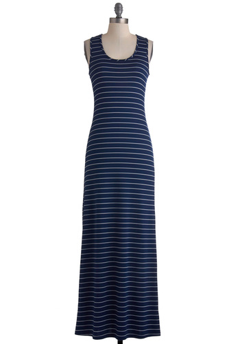 Wardrobe Blueprint Dress - Stripes, Casual, Nautical, Maxi, Summer, Long, Blue, White, Racerback