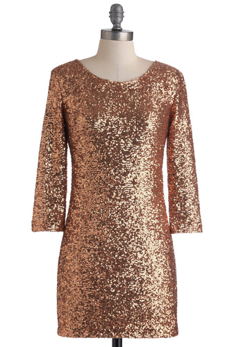 Rose Gold Gal Dress - Solid, Sequins, Party, Shift, 3/4 Sleeve, Short, Backless, Winter, Bronze, Holiday