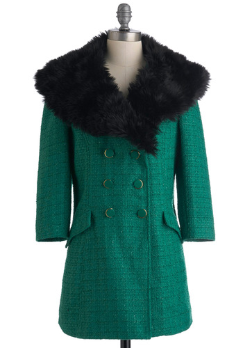 Uptown Outings Coat by Tulle Clothing - Green, Black, Buttons, Pockets, Long Sleeve, 2.5, Solid, Party, Casual, Vintage Inspired, Luxe, Statement, Winter, Long