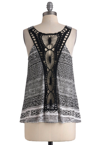 Lacing Around Every Pattern Top - White, Casual, Racerback, Black, Print, Crochet, Boho, Summer, Mid-length