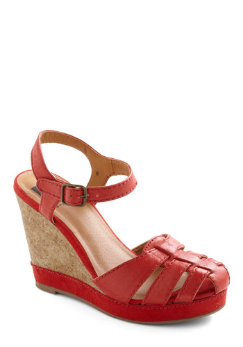 Neighborhood Tour Wedge by BC Shoes - Red, Tan / Cream, Solid, Casual, Summer