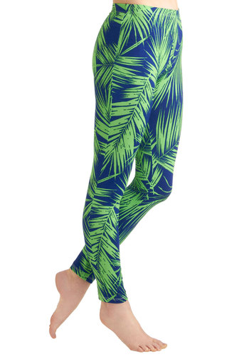 Keep Palm and Carry On Leggings - Blue, Green, Casual, Vintage Inspired, 90s, Print