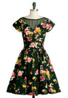 Glamorous Yet Again Dress - Mid-length, Multi, Floral, Pockets, Party, Short Sleeves, Fit & Flare, Green, Vintage Inspired, 50s, Cocktail, Sheer, Cotton, Boat