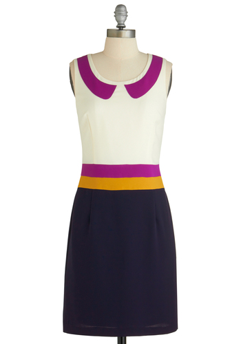 Dream in Colorblock Dress - Mid-length, Multi, Yellow, Blue, Purple, Work, Shift, Sleeveless, White, Peter Pan Collar, Vintage Inspired, 60s, Scholastic/Collegiate, Tis the Season Sale
