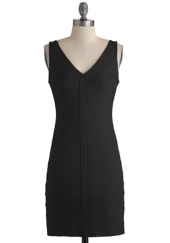 Mingle with Me Dress in Black by BB Dakota - Short, Black, Solid, Sleeveless, Girls Night Out, Bodycon / Bandage, Cocktail, V Neck