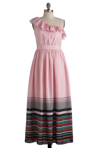 Pointillism the Way Dress - Long, Pink, Blue, Brown, Black, White, Stripes, Ruffles, Party, Maxi, Spaghetti Straps, Summer, Spring, Pastel, Beach/Resort