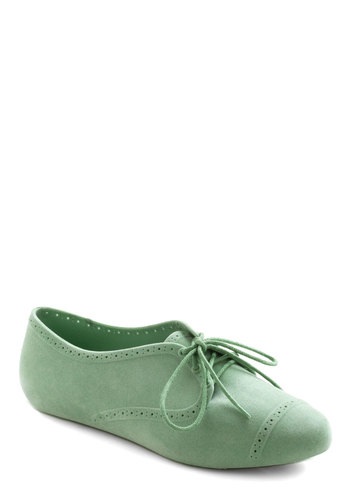 Mutual Mint-erists Flat by Mel Shoes - Green, Solid, Casual, Flat, Pastel, Faux Leather, Mint, Lace Up, Menswear Inspired, International Designer