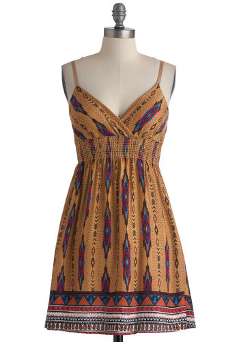 West Dressed Dress - Short, Multi, Print, Casual, Empire, Spaghetti Straps, Red, Orange, Blue, Tan / Cream, Boho, Summer