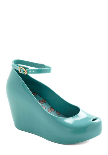 Peep Into the Future Wedge by Mel Shoes - Wedge, Blue, Solid, 90s, Party, Statement, Eco-Friendly, International Designer